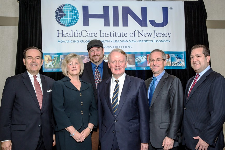 (L. to r.) HINJ President and CEO Dean Paranicas, Deborah Brown, Scott Knowlton, Rep. Leonard Lance, Dr. Nils Lonberg and HINJ Chair Craig Bleifer