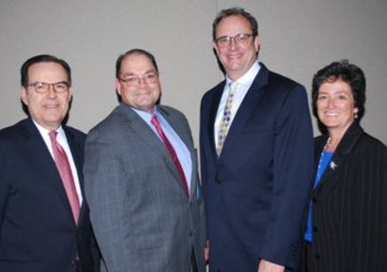 (L. to r.)  HINJ's Dean Paranicas, MSNJ's Larry Downs, NJAHP's Ward Sanders and NJHA's Betsy Ryan